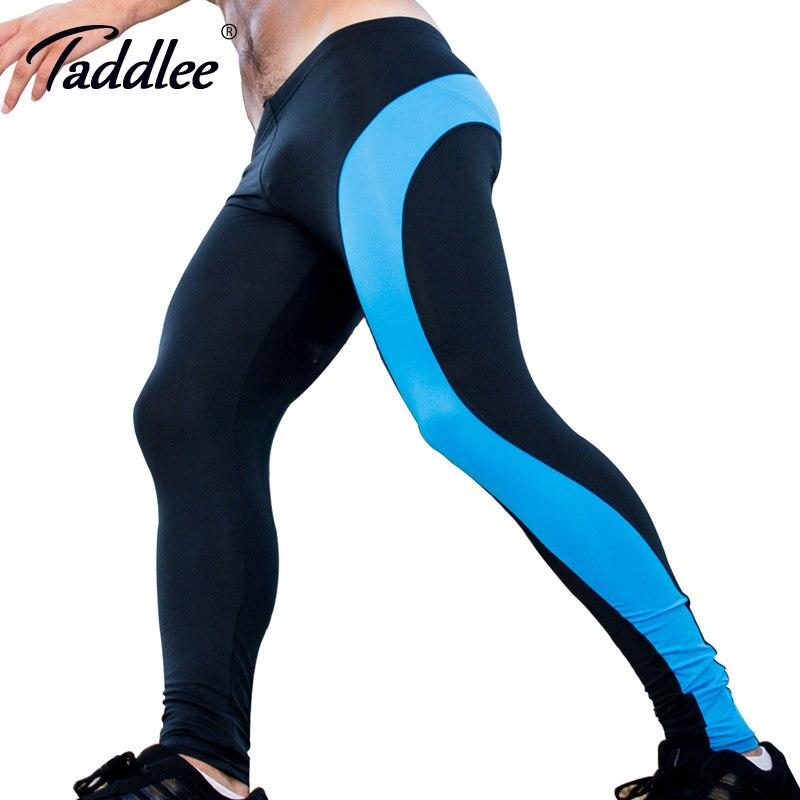 37216d78b1d54 Taddlee Marque Sexy Legging Hommes Taille Basse nylon Caleçon Long sport  Pantalon Homme Collants de Course Stretch Bas Gay Entraînement Actif  nouveau dans ...