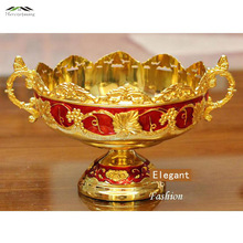 Retro elegant shiny gold plated luxury fruit bowl golden fruit tray/plate for wedding or party putting fruits or dim sum