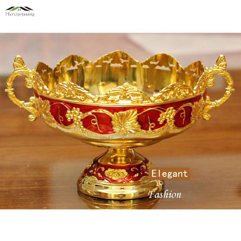 Nouveau Brillant D'or Plaqué Fruits Plat Avec Poignée Assiette À Dessert doux Plats Époxy Fruits Rack Plaques Pour Le Mariage Ou Partie 21X15X8 CM