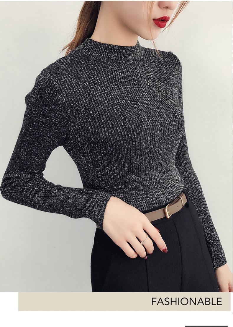 Shiny Lurex Autumn Winter Sweater Women Long Sleeve Pullover Women Basic Sweaters Turtleneck 19 Korean Style Knit Tops Femme 11