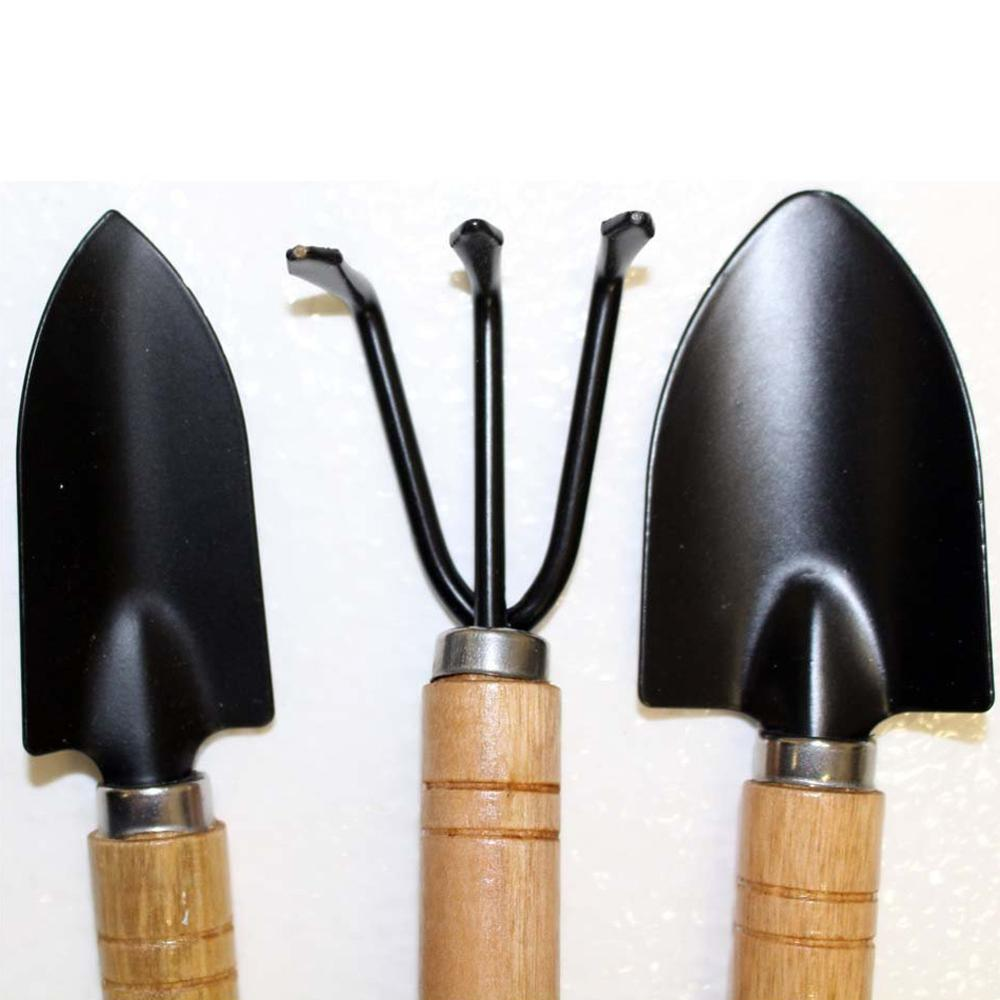 3pcs/set Portable Garden Tool Set Mini Shovels + Spade Rale Claw With Wooden Handles-in Furniture Accessories From On Aliexpress.com