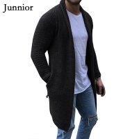 Black Cardigan Men Long Sleeve Midi Sweater Coat with Pocket Winter and Autumn Casual Solid Color Cardigans Pull Homme Hiver