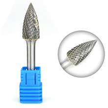 SG-5 Tungsten Carbide Burr File 1/2 Inch Head with 1/4 Inch Shank Pointed Tree Shape Metalworking Bit for Rotary Die Grinder new 1 2 4 head 1 2 high levels high purity tungsten steel rod tungsten bars cutting hardness 45hrc 1 2 4