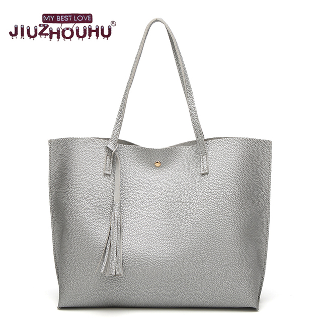 Shopper Bag Big Totes Bag Tassel Leather Purses and handbags Simple  Carteras Y Bolsos De MuFemale Hot Shoulder Bags Shopping Bag 291086ae98ac