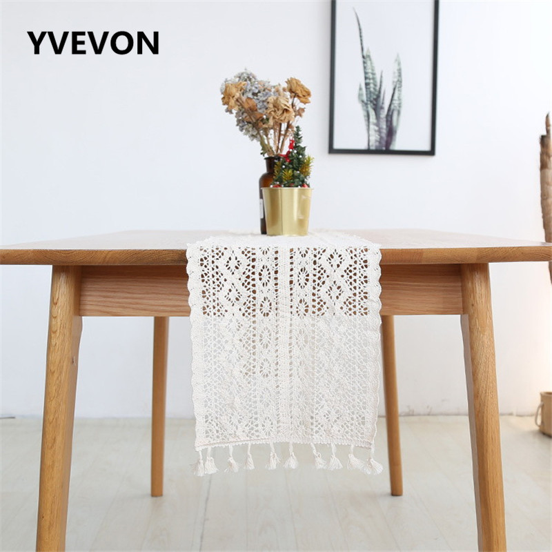 YVEVON Beige Flower Lace Table Runner Floral Cover Cloth Wedding Decoration Home Textile Shop Display Festive Party Supply