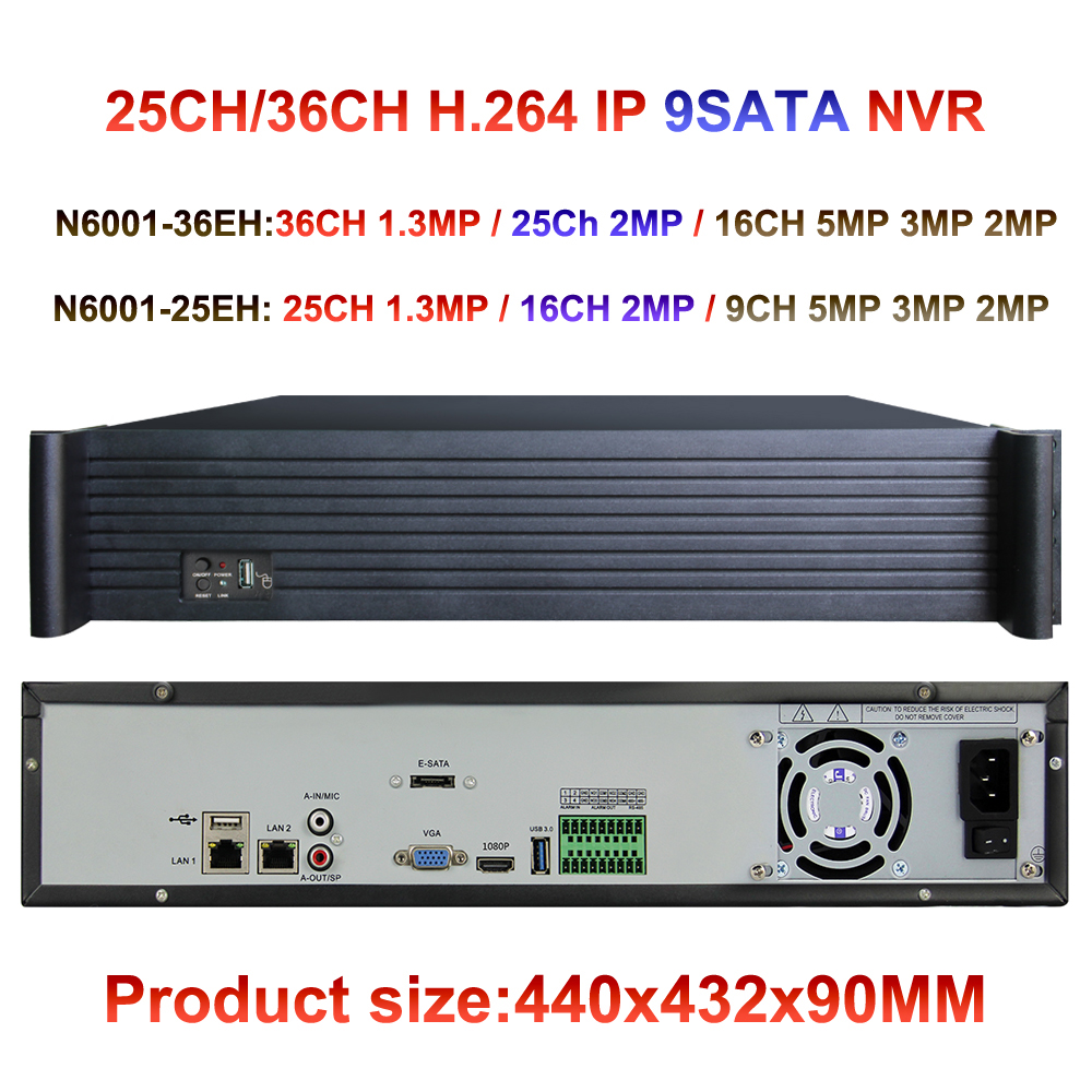 9xSATA CCTV NVR 25CH 36ch 960P / 25ch 16ch 1080P /9ch 16ch 5mp/4mp/3mp IP camera input ONVIF network video recorder HDMI P2P
