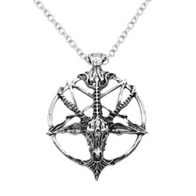 Fashion Steampunk Inverted Pentagram Pan God Skull Goat Head Pendant Necklaces Satanism Satanic Occult Metal Choker Necklace(China)