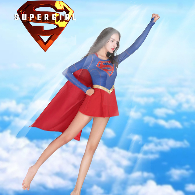 Stock Female Superman Cosplay Costume Superhero Supergirl Dress High Quality For Adult Kid Party Halloween Carnival Custom Made