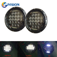 2 PCS H4 Round Headlight 7 75W 5D LED Driving Lights High Beam Low Beam DRL