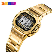 Women Watch Casual Stainless Steel Strap LED Digital Watch For Girls Countdown Alarm 12/24 Hour Clock Female Reloj Mujer SKMEI
