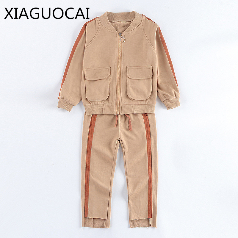 XiaGuoCai Girls baby sets long sleeve jacket coat + long pants Two pieces zipper sport children sets Solid color fashion k85 35 colorvalue winter double zipper running jacket women hooded fitness coat long sleeve sport yoga coat with pocket and thumb holes