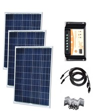 Solar Panel 12v 100w Polycrystalline 3 Pc Battery Charger Kit 300w PWM Controller 12v/24v 30A Caravan Car Camp