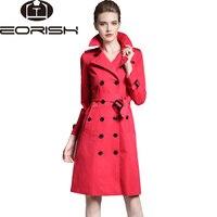 Британский стиль высокое качество 2018 Весенний Тренч пальто женский ремень Для женщин ветровка большой Размеры красный, хаки Армейский зеле