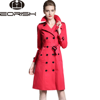 British Style High Quality 2018 Spring Trench Coat Female Belt Women's Windbreaker Large Size Red, Khaki Army Green Black