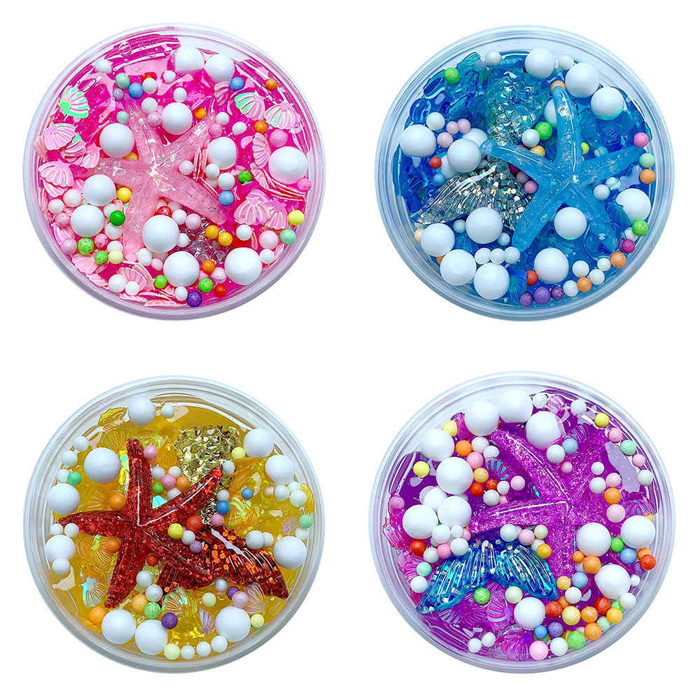 New Cute Gift Fluffy Mud Mermaid Tail Charms Fishbowl Mermaid Bubble Bath Slime Gift Kids Toy For Boy Girl