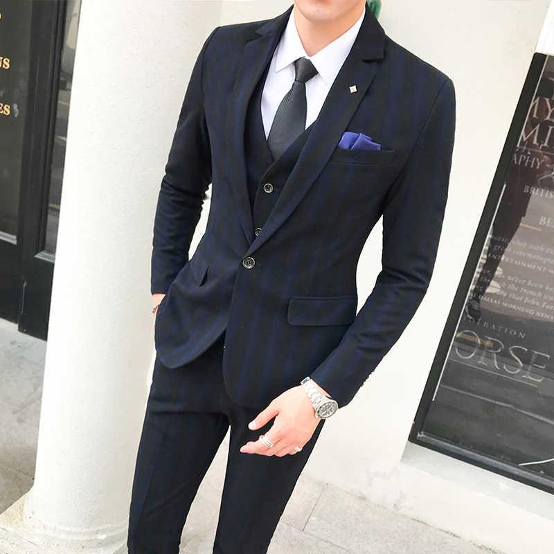 2019 nouveaux hommes rayure haute qualité formelle marié robe de mariée costume 3 pièces ensemble/hommes costume d'affaires formel (veste + gilet + pantalon)