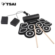 TSAI Thickened Silicone Practice Pads MD760 USB Charging Electronic Drum Pad Portable Built-in Speaker Musical Instrument