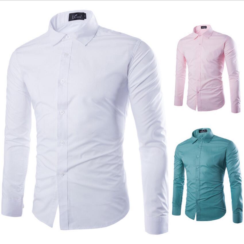 2018 Herbst Neue Langarm Shirt Männer Mode Designer Hohe Qualität Solide Shirt Nicht Eisen Slim Fit Anti-falten 17 Farben
