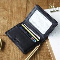 LANSPACE skórzane etui na karty małe etui na identyfikator modne portmonetki w Portfele od Bagaże i torby na