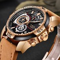 Мужские кварцевые часы LIGE  спортивные водонепроницаемые часы золотого цвета с кожаным ремешком