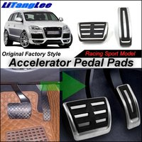 LitangLee Car Accelerator Pedal Pad Cover Sport Racing Design For Audi Q7 4L 2007~2015 AT Foot Throttle Pedal Cover