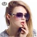 2015 mujer diseñador de la marca de diamantes espejo pierna Gafas de sol de moda las Gafas de sol sin montura Retro mujeres oculos Gafas de sol