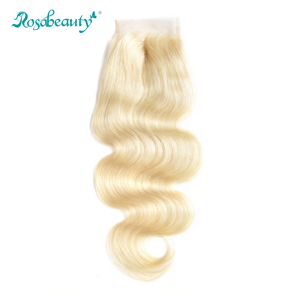 Rosabeauty #613 Blonde Body Wave Lace Closure 4x4 Brazilian Remy Hair Lace Closure With Baby Hair Color 613 Free Shipping