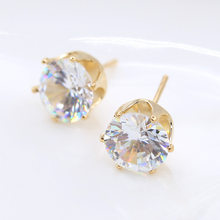 Fashion Jewelry Round 2 Carat Cubic Zirconia Silver Plated Stud Earrings for Women(China)