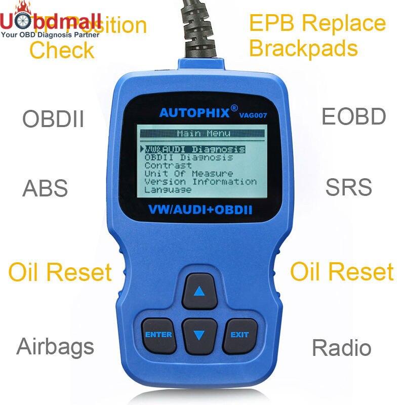 Цена за AUTOPHIX VAG007 VAG диагностический инструмент для VW/Audi/Seat/Skoda Двигатели ABS подушки безопасности dct EPB масла Радио AC кодов сканирования Инструменты