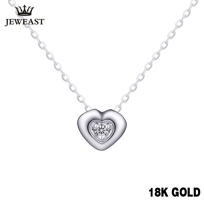 18K Gold Diamond Necklace Pendant Female Heart Lock Chain Charm Women Girl Miss Gift Genuine Party Trendy Customization Good New yoursfs 18k rose white gold plated letter best mum heart necklace chain best mother s day gift
