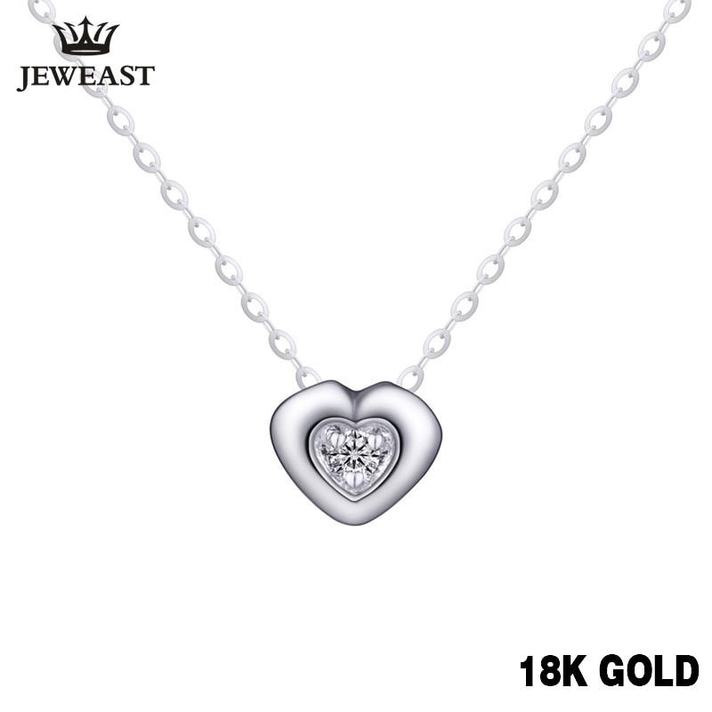18K Gold Diamond Necklace Pendant Female Heart Lock Chain Charm Women Girl Miss Gift Genuine Party Trendy Customization Good New
