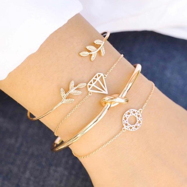 new bohemia leaf knot hand cuff link chain charm bracelet bangles for women bracelets femme jewelry gift 4pcs/set wholesale