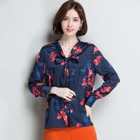 2XL бренд 100% шёлк 2019 Блузы сезон: весна–лето Для женщин рубашка новая мода печатных пригородных OL рубашка галстук бабочка шелковый рубашка, т
