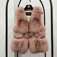 100% натуральный Лисий мех жилет 2018 Новая мода Женское пальто Зимняя теплая короткая куртка жилет для женщин толстый женский жилет из натурал