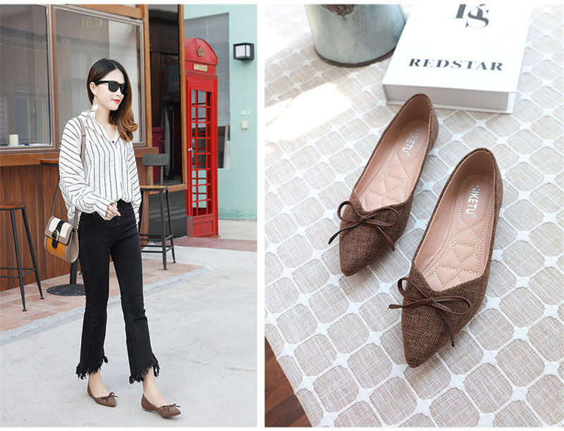 Women Ballerinas Flats Fashion Bowtie Shallow Mouth Slip-on Women Flats Concise Ladies Casual Flat Shoes Ballet Flats For Women (12)