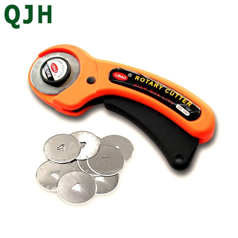 Vluchten Zoeken 45mm Rotary Cutter Tailor Gereedschap Ronde Doek Snijmes Hand Rotary Tapijt Tool Tapijt Snijden Mes Voet Doek Leer Cutter