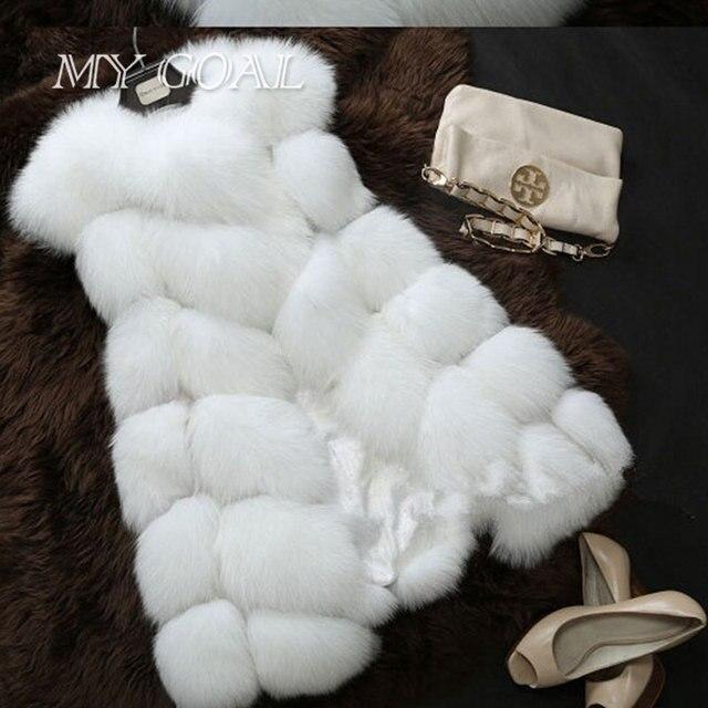 Зима Теплая Жилет Новое Прибытие Женская Мода Импорт Пальто Меховой Жилет Высококачественный Искусственный Мех Пальто Лисий Мех Длинный Жилет Черный Размер Плюс