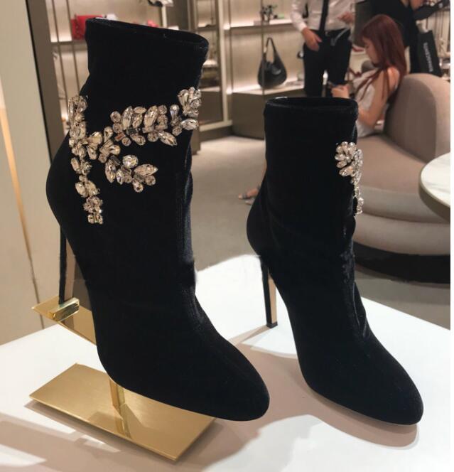 Pointu Stiletto 2019 Noir Pour Troupeau Femmes Talon Haut Bottines 43 Sexy Bout 35 Strass Femme Bottes Nouveau Chaussures Eq8dw0xpq
