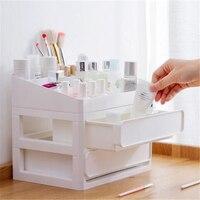 White Pink Plastic Cosmetic Drawer Makeup Organizer Makeup Storage Box Container Nail Casket Holder Desktop Sundry Storage Case