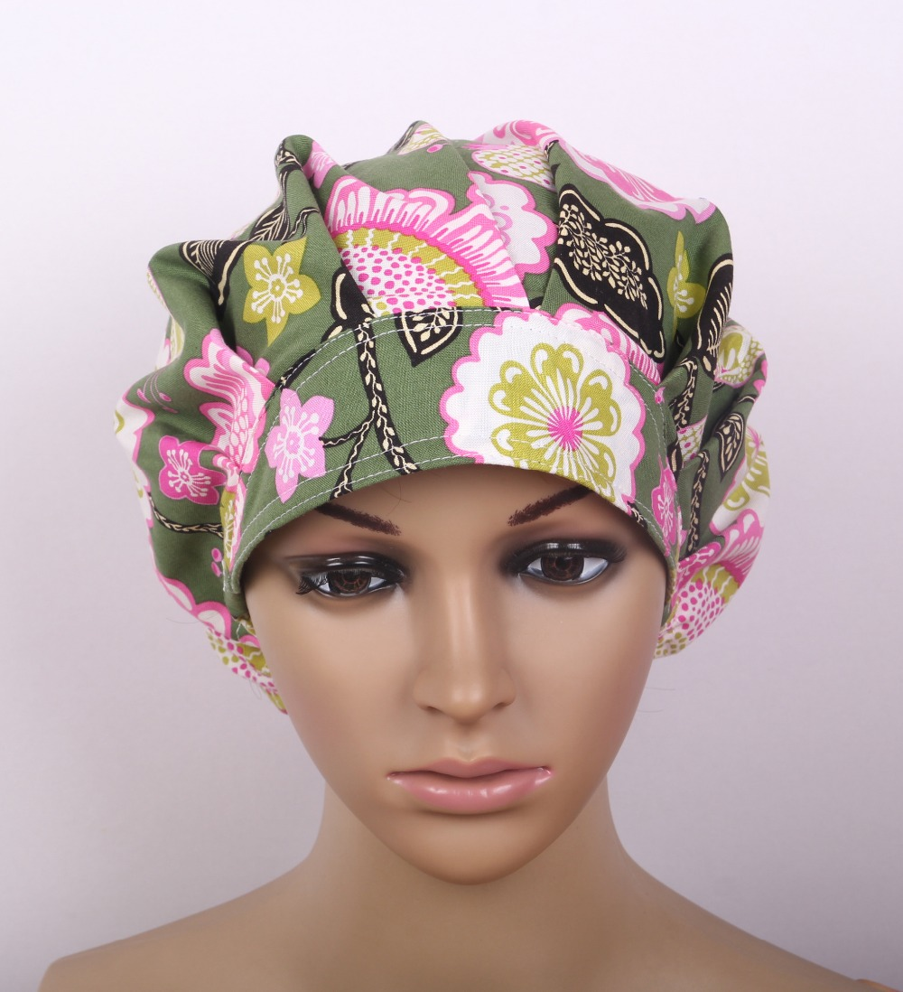 Medical Bouffant Caps In Cotton In Green One Sizze Adjustable