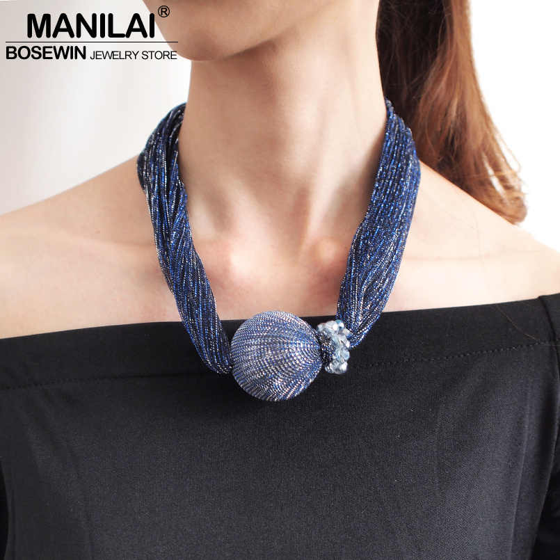 MANILAI Silk Wrap Big Simulated Pearl Choker Necklaces For Women Fashion Jewelry Crystal Beads Collar Statement Pendant Necklace