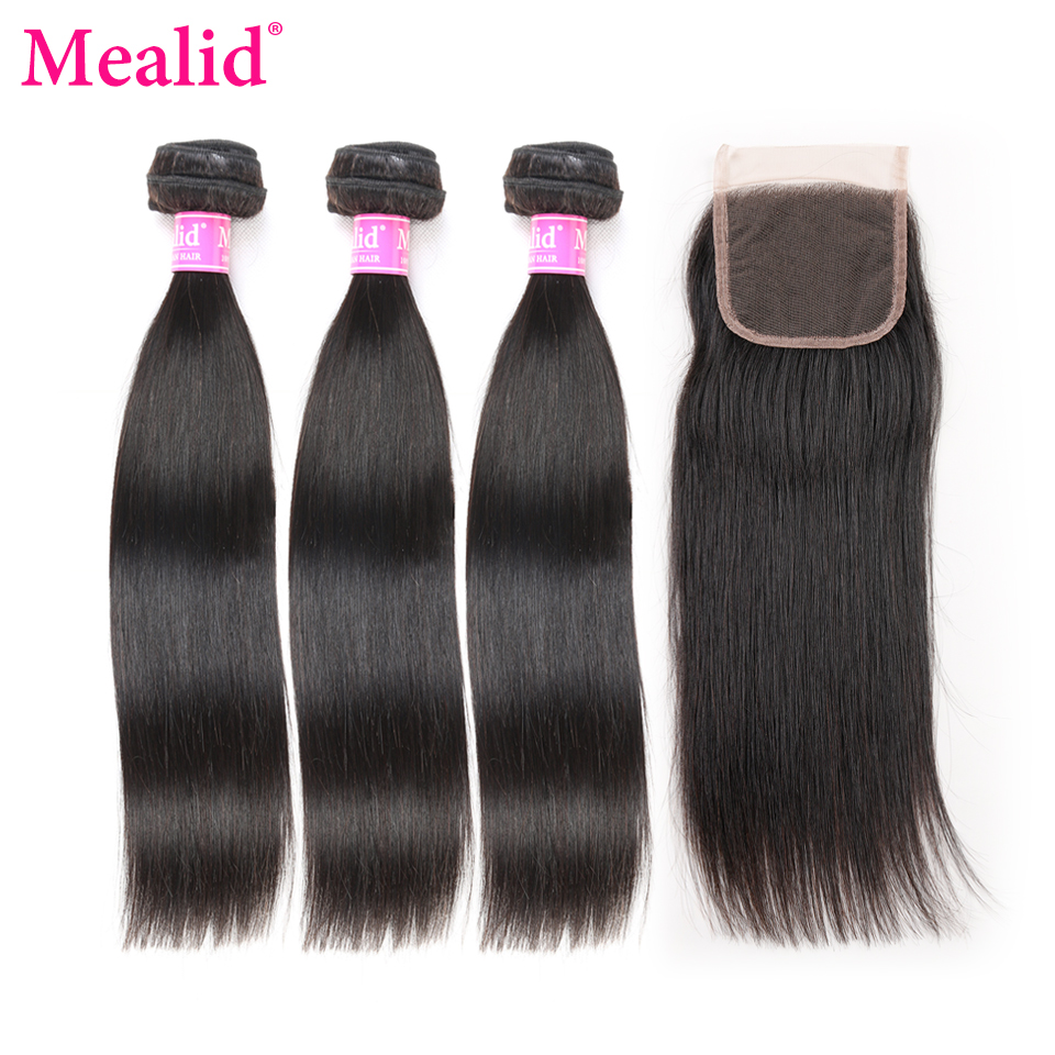 [Mealid]Malaysian Straight Hair With Closure Non-remy Human Hair 3 Bundles With Closure Free Part,Middel part,Three part