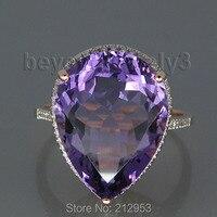 Винтаж груша 15x20 мм 13.20ct одноцветное 14kt розовое золото Фиолетовый аметист Обручение обручальное кольцо