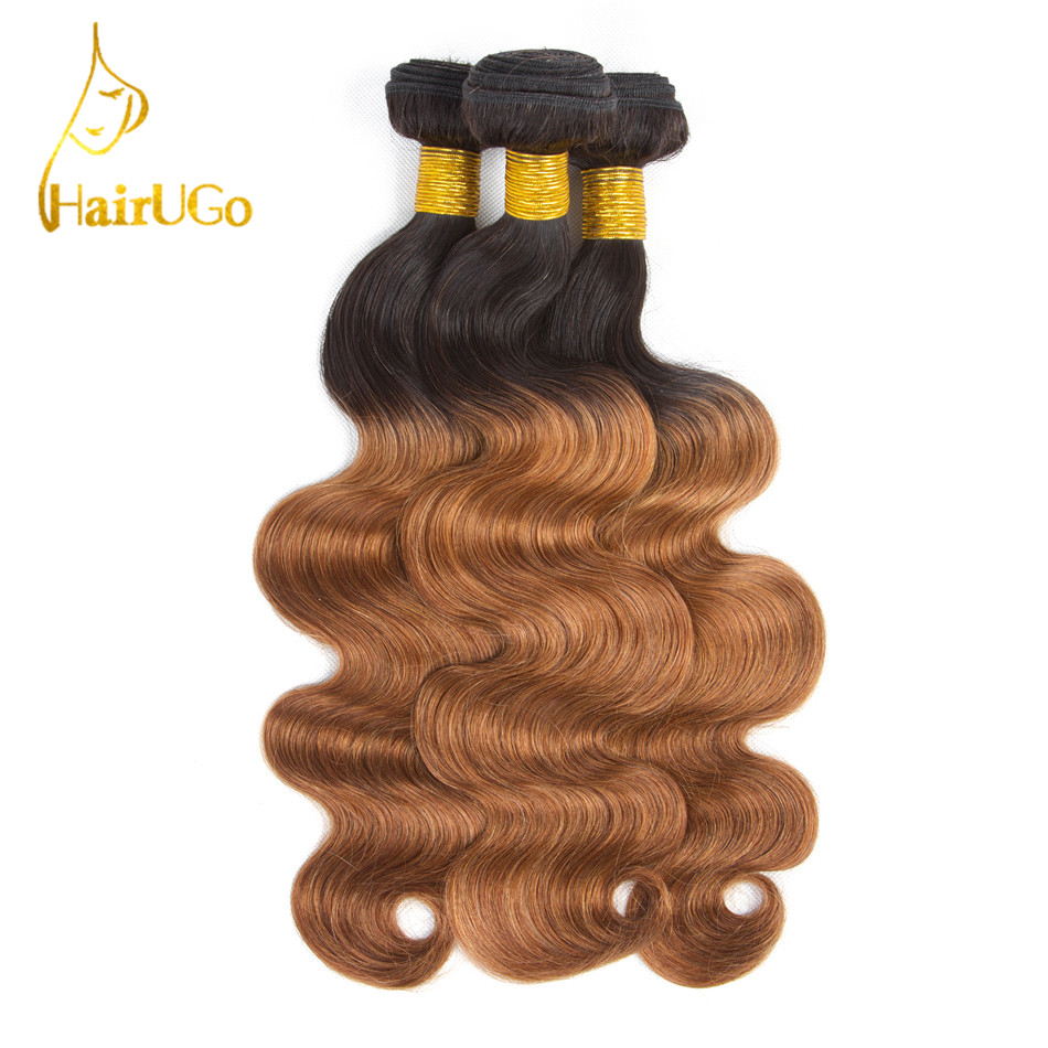 HairUGo Hair Pre-colored Peruvian Hair Body Wave 3 Bundles #T1B/30 Color Human Hair Non Remy Hair Weaving Free Shipping