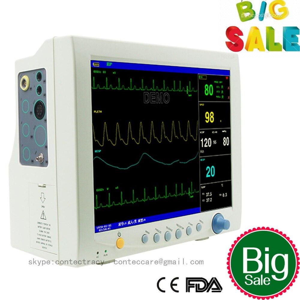 купить Promotin! ICU Patient Monitor 6 parameter Vital Sign ECG NIBP RESP TEMP SPO2 Pr недорого