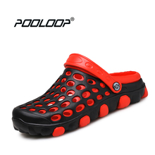 POOLOOP 2017 Comfortable Men Slip On Garden Croc Clogs Men Outdoor Beach Sandals Casual Water Shoes Slippers Soft Yeez Men Shoes