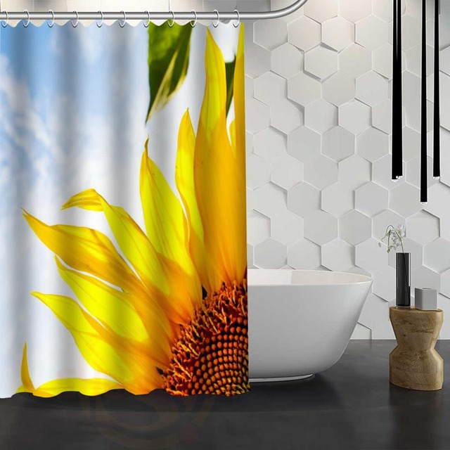 Custom Sunflower Shower Curtain Waterproof Fabric For Bathroom WJY117
