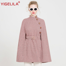 YIGELILA Latest Autumn Women Elegant O-neck Single Breasted Batwing Sleeve Belt Slim Plaid Cape Coat Poncho Cloak 9727(China)