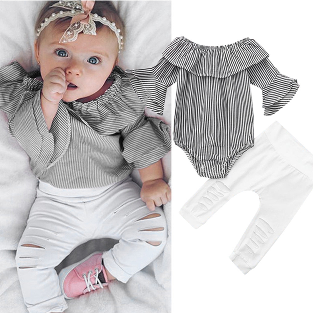 Toddler Infant Baby Girl Striped Tops Romper+Ripped Pant Outfit Clothes Set Pink