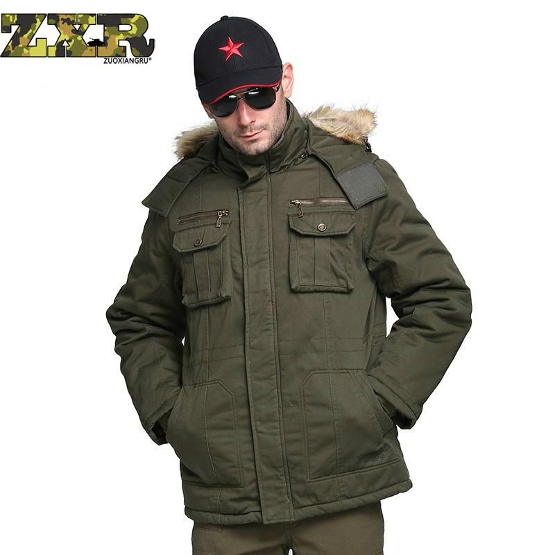 Zuoxiangru Winter Men Jacket Long Fur Hood Collar Plus Size Thick Military Army Green Hooded Jacket Coat Male Parka Overcoat thickening warm fur collar winter coat new 2016 women clothes lamb wool jacket hooded parka army green overcoat xl a3878
